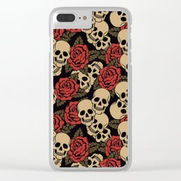 Roses and Skulls Clear iPhone Case