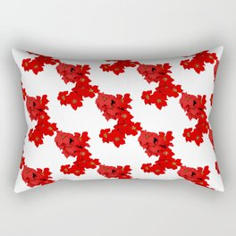 Red Flowers Blossom Pattern Rectangular Pillow