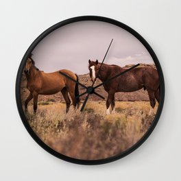 HORSES - BROWN - GRASS Wall Clock