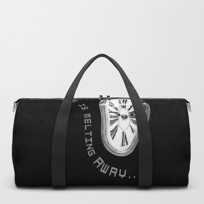 Salvador Dali Inspired Melting Clock. Time is melting away. Duffle Bag