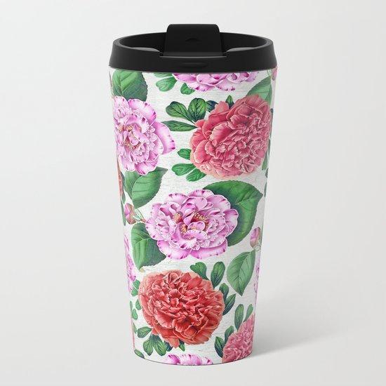 Camellia and Peonia pattern Metal Travel Mug