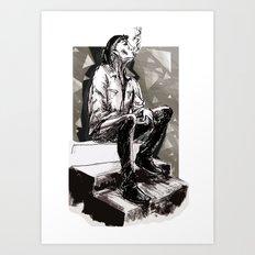 He smokes Art Print