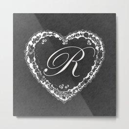 R Vintage Valentine Chalkboard Metal Print