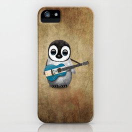 Baby Penguin Playing Honduras Flag Acoustic Guitar iPhone Case