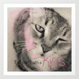 Kitty Cat Kiss Art Print