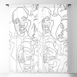 Lined Face Sketches Blackout Curtain