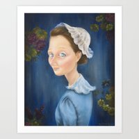 'Young Girl with a White Bonnet' Art Print