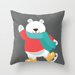 Polar Bear Go Skiing for Merry Christmas Throw Pillow