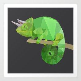 Low Poly Chameleon Art Print
