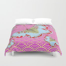 ORIGINAL ORIENTAL STYLE RED-WHITE EXOTIC BUTTERFLY PINK ART Duvet Cover