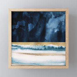 Navy Blue, Gold And White Abstract Watercolor Art Framed Mini Art Print