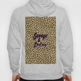Trendy brown cheetah animal print black pink typography Hoody