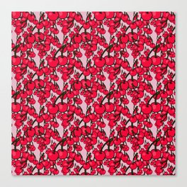 Pattern of Ripe Red Cherries Canvas Print