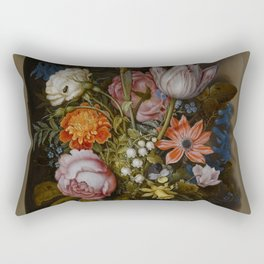 "Ambrosius Bosschaert the Elder ""A still life of flowers in a glass beaker"" Rectangular Pillow"