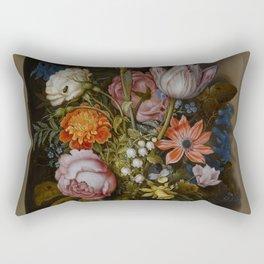 """Ambrosius Bosschaert the Elder """"A still life of flowers in a glass beaker"""" Rectangular Pillow"""