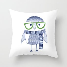 Hipster owl - green glasses Throw Pillow