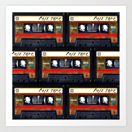 Retro classic vintage gold mix cassette tape Art Print