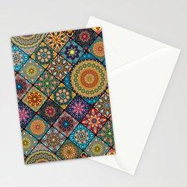 Vintage patchwork with floral mandala elements Stationery Cards