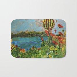 Airballoons over lake Bath Mat