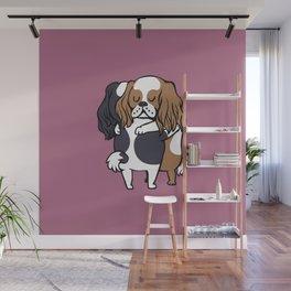 Cavalier King Charles Spaniel hugs Wall Mural