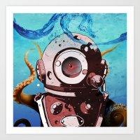 diver Art Prints featuring Diver by Tony Vazquez