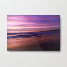 Walking during sunset on Venice Beach, California Metal Print
