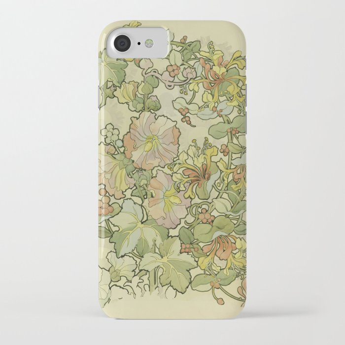 "Alphonse Mucha ""Printed textile design with hollyhocks in foreground"" iPhone Case"