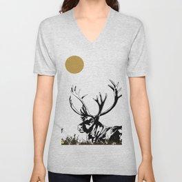 Art print: The reindeer named Caribou Unisex V-Neck