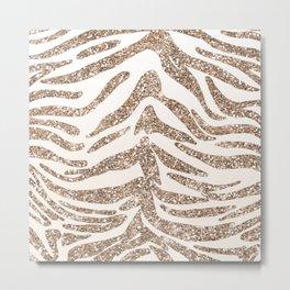 Glitter and Gold Tiger Stripes Metal Print