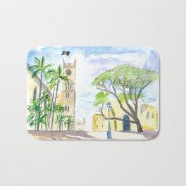 Street Scene in Bridgetown Barbados Bath Mat