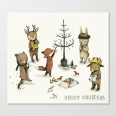 Christmas Animals poster - Merry Christmas art -holidays print - Nursery art - Nursery decor - Kids  Canvas Print