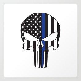 Punisher Skull American Flag Thin Blue Line Art Print