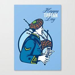 Happy Tartan Day Bagpiper Greeting Card Canvas Print