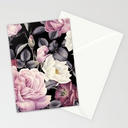Pinky purple Medley of Roses, Peony and Leaves Stationery Cards