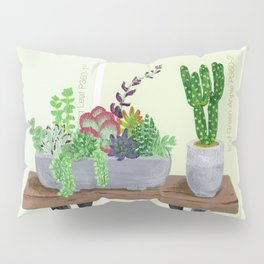 Cacti and Succulents on Greens Pillow Sham