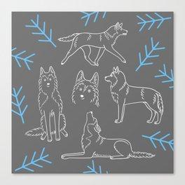 Siberian Husky Pattern Canvas Print