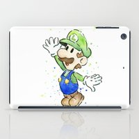 luigi iPad Cases featuring Luigi Watercolor Art by Olechka