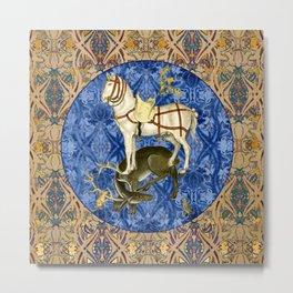 Tudor Pattern Book Horse And Hart Metal Print