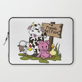 Friends Not Food Animal Rights Pig Cow present Laptop Sleeve