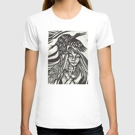 Women with Sandhill Cranes- Woodcut T-shirt