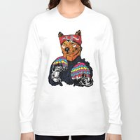 shiba Long Sleeve T-shirts featuring Shiba - The Hustler  by Vasco Vicente