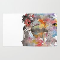 princess mononoke Area & Throw Rugs featuring Rainbow Princess Mononoke by scoobtoobins