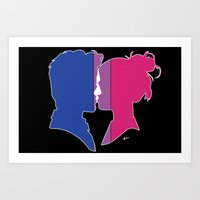 bisexual Art Prints featuring Bisexual Love by Winter Graphics