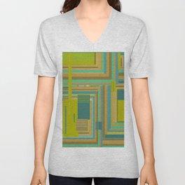 Urban Cactus, graphic design in green tan aquamarine brown teal blue Unisex V-Neck