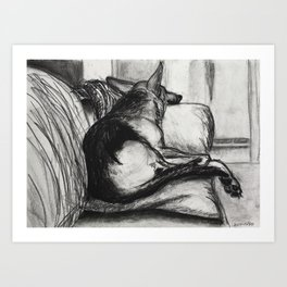 Couch nap Art Print