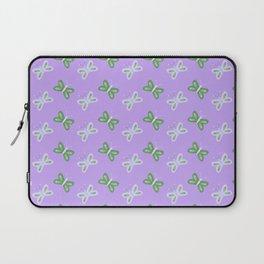 Modern artistic violet green butterfly illustration pattern Laptop Sleeve