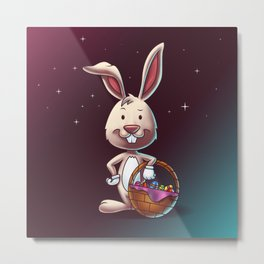 Easter Bunny With A Basket Of Eggs - Digital Painting Metal Print