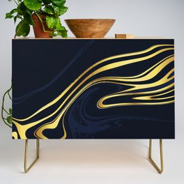 Dark Blue And Gold Marble Background Credenza