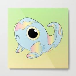 Pastel Rainbow Tadpole Monster Metal Print