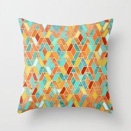 Tangerine & Turquoise Geometric Tile Pattern Throw Pillow